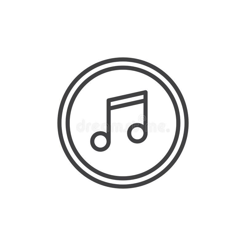 Εικονίδιο περιλήψεων κουμπιών σημειώσεων μουσικής ελεύθερη απεικόνιση δικαιώματος