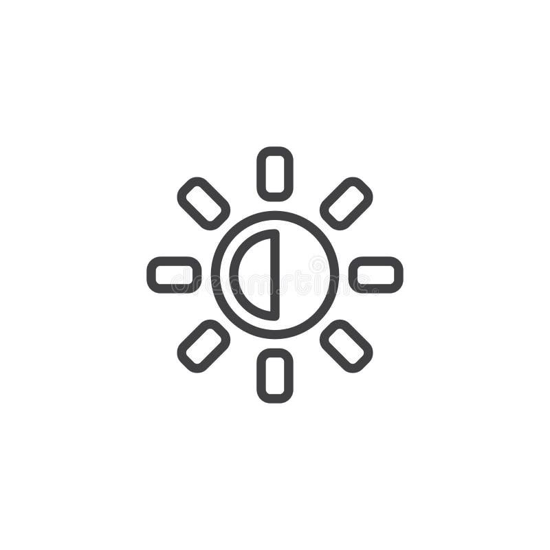 Εικονίδιο περιλήψεων κουμπιών φωτεινότητας και αντίθεσης ελεύθερη απεικόνιση δικαιώματος