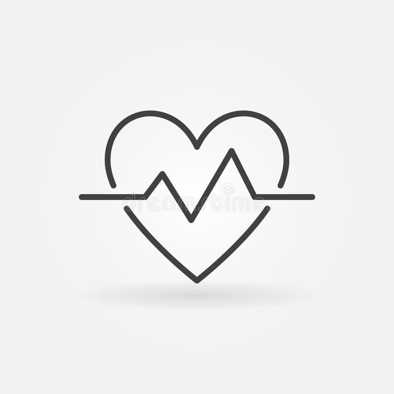 Εικονίδιο περιλήψεων κτύπου της καρδιάς Η διανυσματική απλή καρδιά κτύπησε το σύμβολο σφυγμού απεικόνιση αποθεμάτων