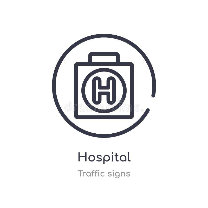 εικονίδιο περιλήψεων νοσοκομείων r editable λεπτό εικονίδιο νοσοκομείων κτυπήματος επάνω διανυσματική απεικόνιση