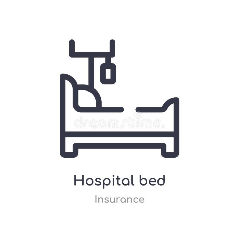 εικονίδιο περιλήψεων νοσοκομειακού κρεβατιού απομονωμένη διανυσματική απεικόνιση γραμμών από την ασφαλιστική συλλογή editable λεπ διανυσματική απεικόνιση