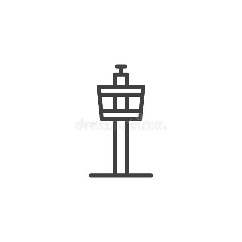 Εικονίδιο περιλήψεων πύργων ελέγχου αερολιμένων ελεύθερη απεικόνιση δικαιώματος