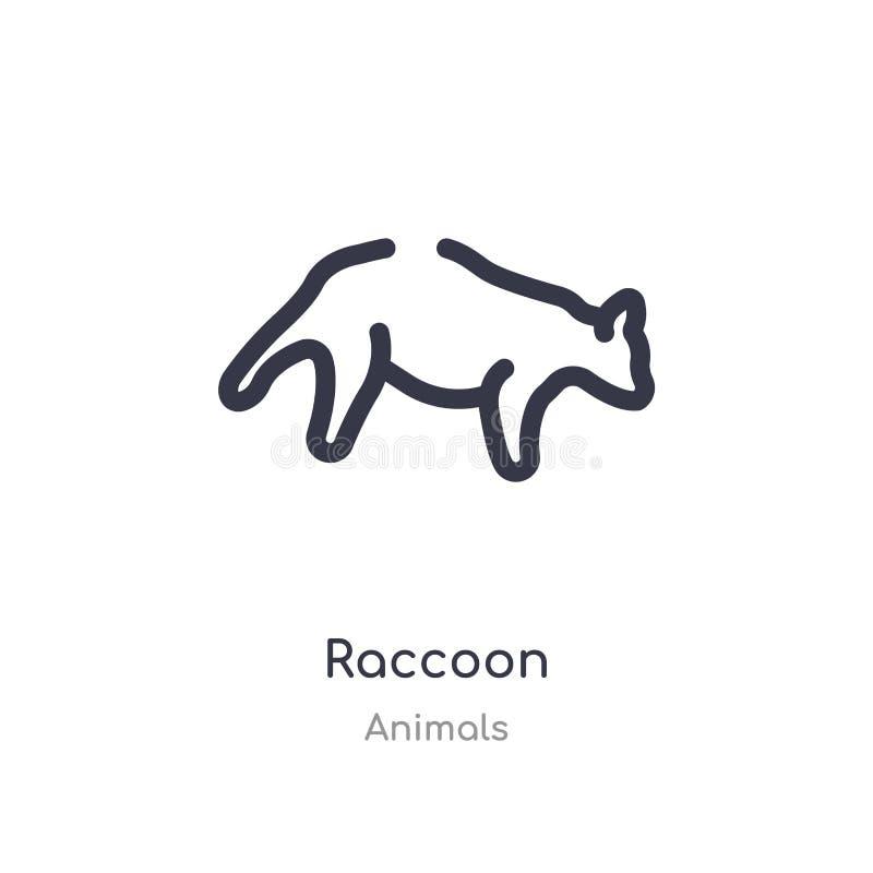 εικονίδιο περιλήψεων ρακούν απομονωμένη διανυσματική απεικόνιση γραμμών από τη συλλογή ζώων editable λεπτό εικονίδιο ρακούν κτυπή απεικόνιση αποθεμάτων