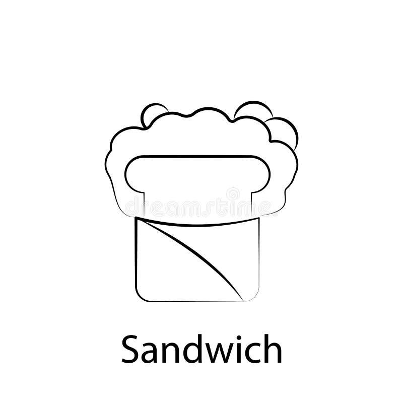 Εικονίδιο περιλήψεων σάντουιτς γρήγορου φαγητού Στοιχείο του εικονιδίου απεικόνισης τροφίμων E απεικόνιση αποθεμάτων