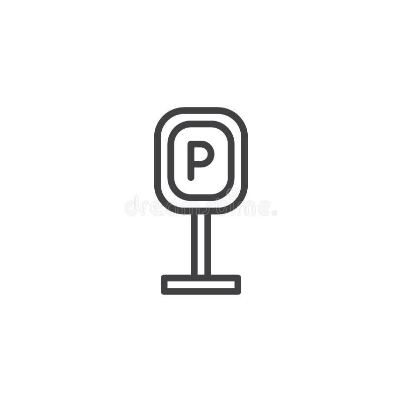 Εικονίδιο περιλήψεων σημάτων χώρων στάθμευσης διανυσματική απεικόνιση