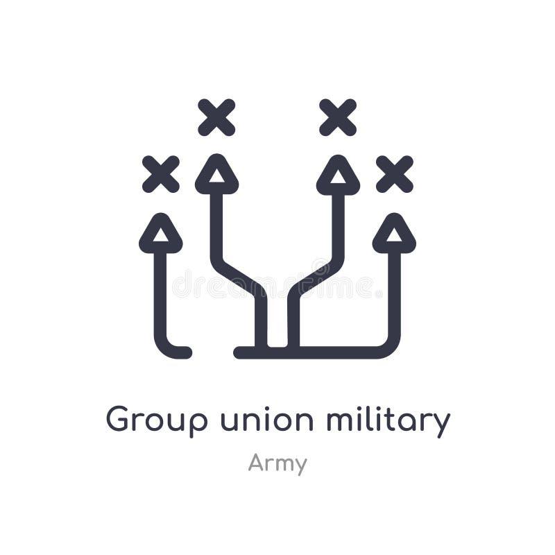 εικονίδιο περιλήψεων στρατιωτικής στρατηγικής ένωσης ομάδας απομονωμένη διανυσματική απεικόνιση γραμμών από τη συλλογή στρατού ed διανυσματική απεικόνιση