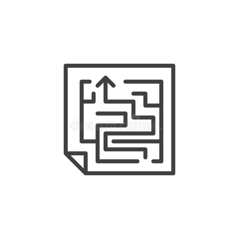Εικονίδιο περιλήψεων σχεδίου λαβυρίνθου διανυσματική απεικόνιση
