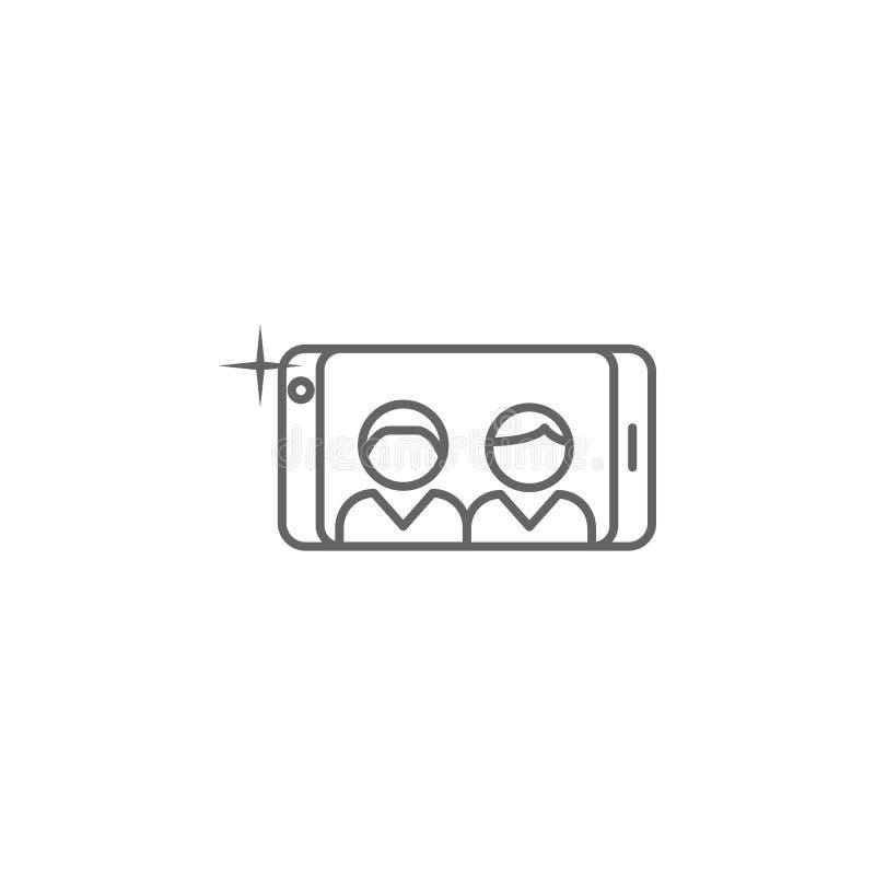 εικονίδιο περιλήψεων τηλεφωνικής selfie φιλίας Στοιχεία του εικονιδίου γραμμών φιλίας Τα σημάδια, τα σύμβολα και τα διανύσματα μπ ελεύθερη απεικόνιση δικαιώματος