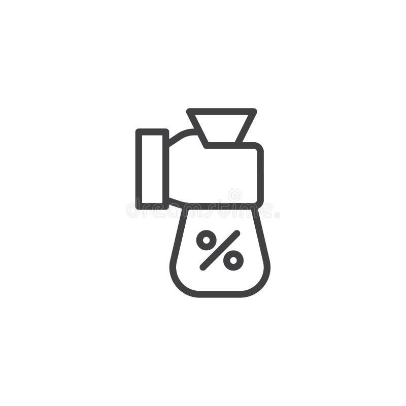 Εικονίδιο περιλήψεων τσαντών χρημάτων τοις εκατό εκμετάλλευσης χεριών απεικόνιση αποθεμάτων