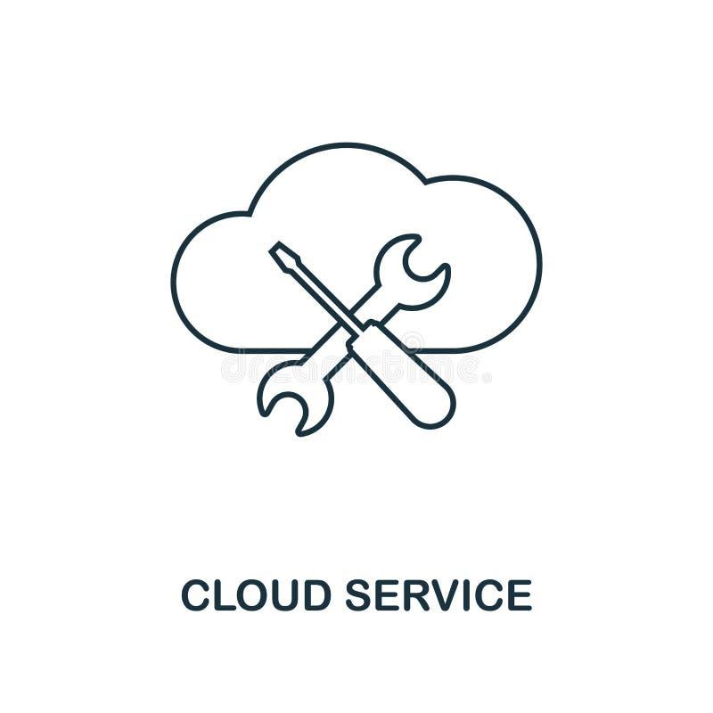 Εικονίδιο περιλήψεων υπηρεσιών σύννεφων Λεπτό ύφος γραμμών από τη μεγάλη συλλογή εικονιδίων στοιχείων Τέλεια απλή υπηρεσία σύννεφ ελεύθερη απεικόνιση δικαιώματος