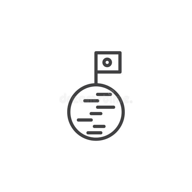 Εικονίδιο περιλήψεων φεγγαριών και σημαιών απεικόνιση αποθεμάτων