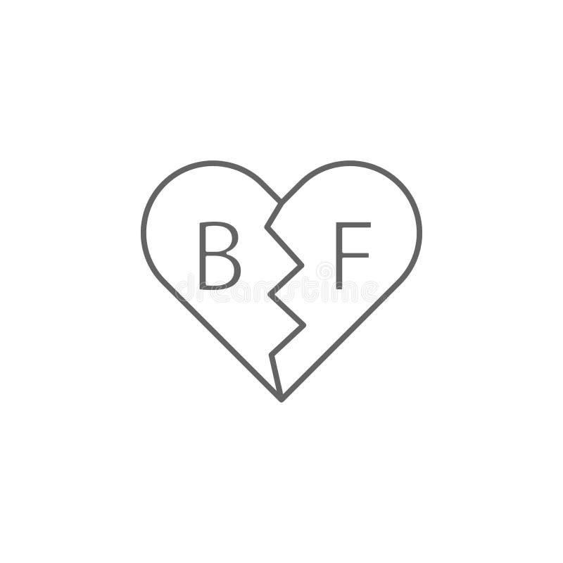 εικονίδιο περιλήψεων φιλίας περιδεραίων bff Στοιχεία του εικονιδίου γραμμών φιλίας Τα σημάδια, τα σύμβολα και τα διανύσματα μπορο ελεύθερη απεικόνιση δικαιώματος