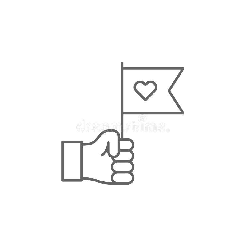 εικονίδιο περιλήψεων φιλίας χεριών σημαιών Στοιχεία του εικονιδίου γραμμών φιλίας Τα σημάδια, τα σύμβολα και το s μπορούν να χρησ απεικόνιση αποθεμάτων