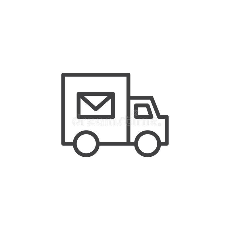 Εικονίδιο περιλήψεων φορτηγών παράδοσης ταχυδρομείου διανυσματική απεικόνιση