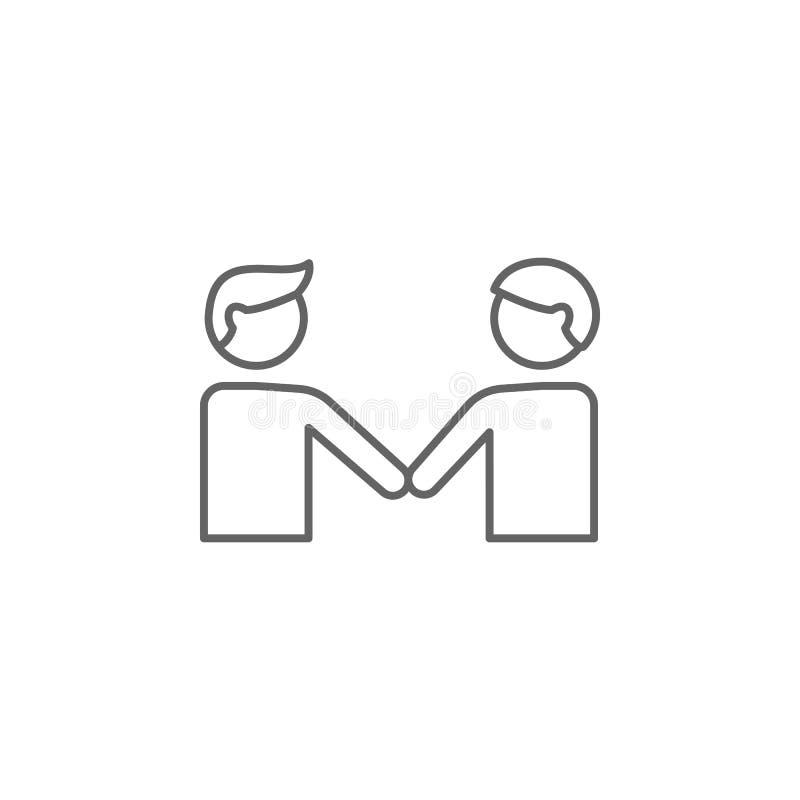 εικονίδιο περιλήψεων χειραψιών φίλων Στοιχεία του εικονιδίου γραμμών φιλίας Τα σημάδια, τα σύμβολα και τα διανύσματα μπορούν να χ απεικόνιση αποθεμάτων