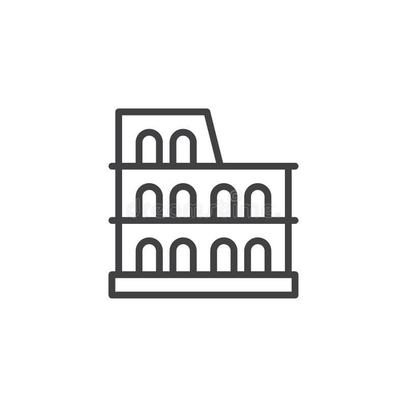 Εικονίδιο περιλήψεων Coliseum διανυσματική απεικόνιση