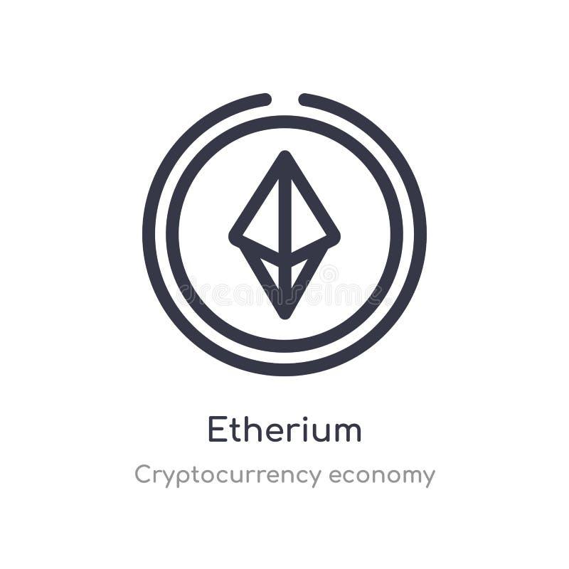 εικονίδιο περιλήψεων etherium απομονωμένη διανυσματική απεικόνιση γραμμών από τη συλλογή οικονομίας cryptocurrency editable λεπτό διανυσματική απεικόνιση
