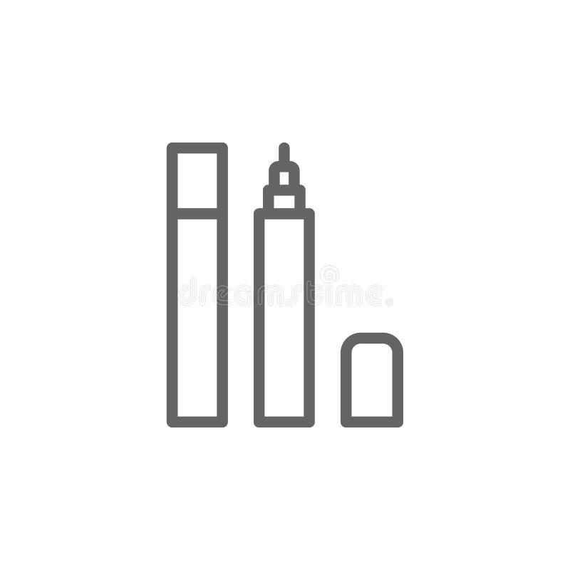 Εικονίδιο περιλήψεων Eyeliner r Τα σημάδια και τα σύμβολα μπορούν να χρησιμοποιηθούν για τον Ιστό, λογότυπο, κινητό app διανυσματική απεικόνιση