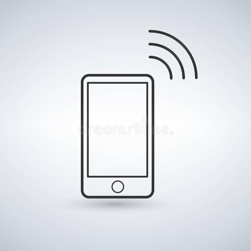 Εικονίδιο περιλήψεων Smartphone με το σήμα wifi σαν συμπαθητικό πρότυπο μερών σχεδίου stiker για να χρησιμοποιήσει το διάνυσμά σα διανυσματική απεικόνιση