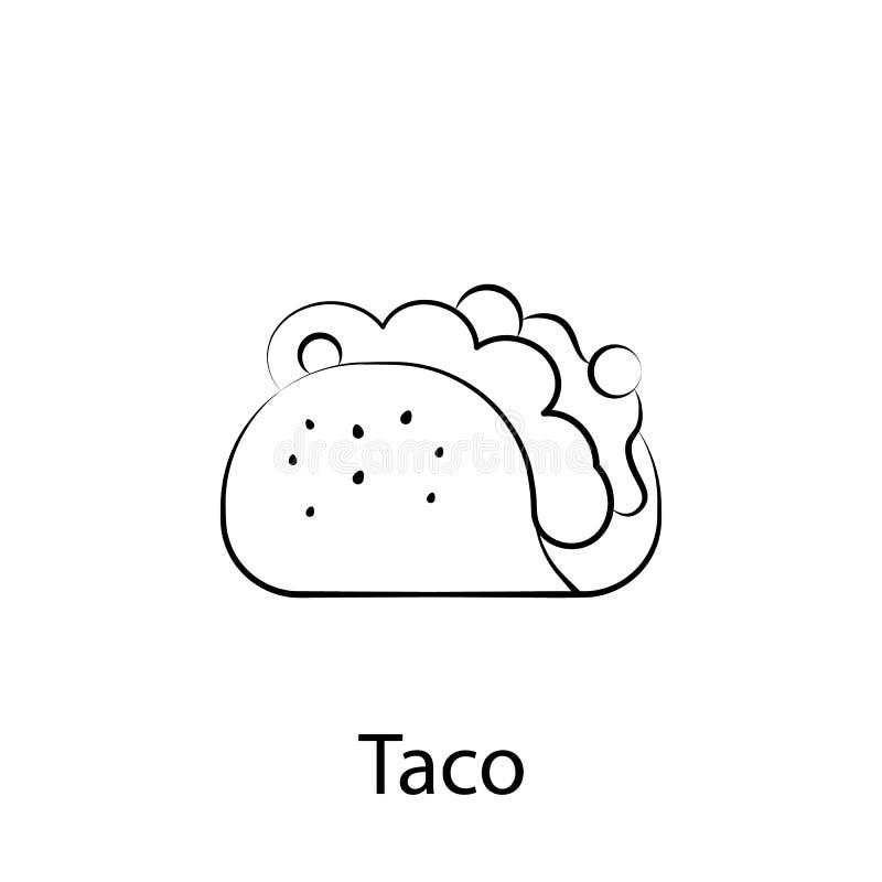 Εικονίδιο περιλήψεων taco γρήγορου φαγητού Στοιχείο του εικονιδίου απεικόνισης τροφίμων Τα σημάδια και τα σύμβολα μπορούν να χρησ ελεύθερη απεικόνιση δικαιώματος