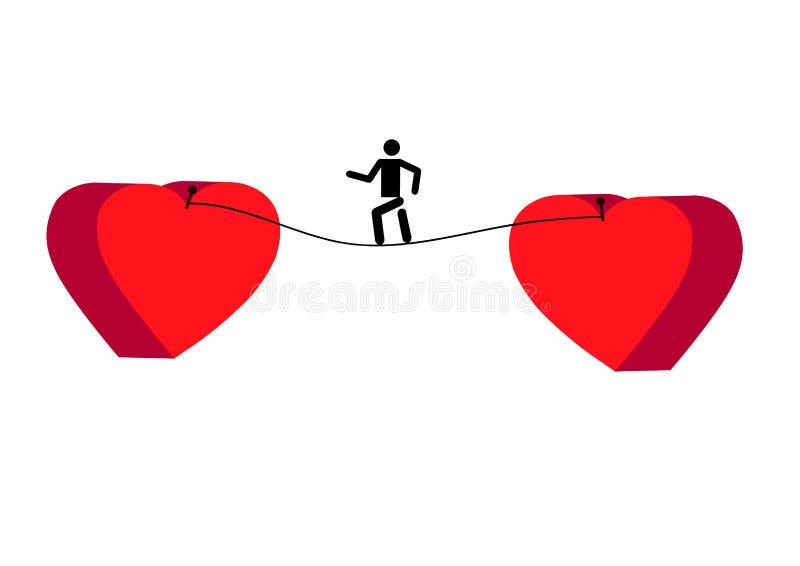 εικονίδιο περιπατητών σχοινιών σχοινοβασίας Περιπατητής σχοινιών σχοινοβασίας μεταξύ δύο καρδιών πρόβλημα επιλογής διανυσματική απεικόνιση