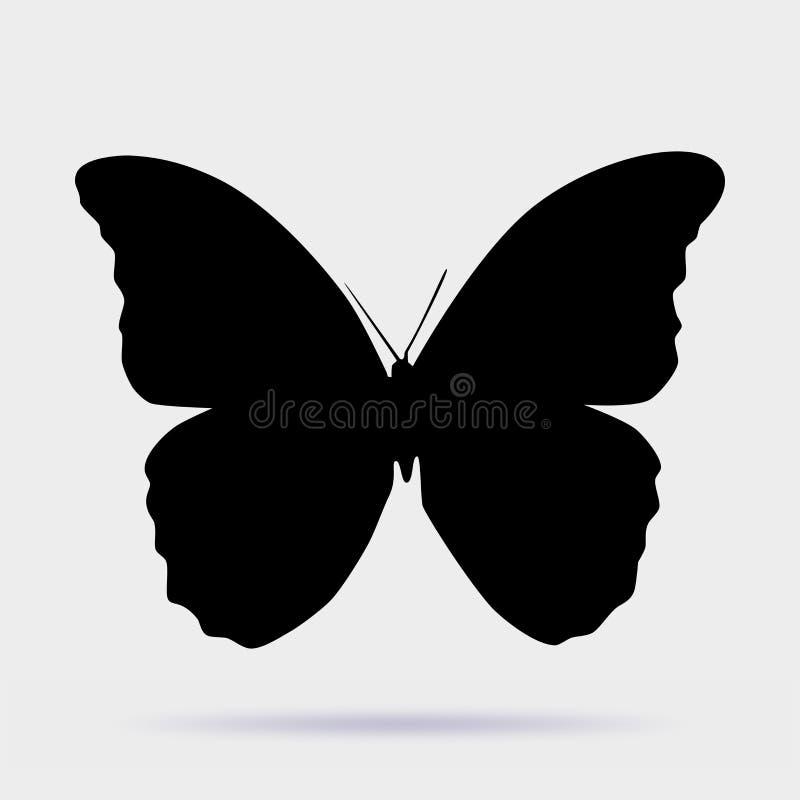 Εικονίδιο πεταλούδων, σκιαγραφίες πεταλούδων στο άσπρο υπόβαθρο απεικόνιση αποθεμάτων