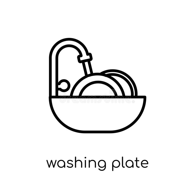 Εικονίδιο πιάτων πλύσης Καθιερώνον τη μόδα σύγχρονο επίπεδο γραμμικό διανυσματικό pla πλύσης διανυσματική απεικόνιση