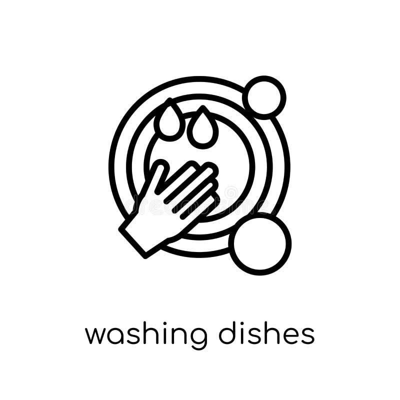 Εικονίδιο πιάτων πλύσης Καθιερώνον τη μόδα σύγχρονο επίπεδο γραμμικό διανυσματικό Di πλύσης διανυσματική απεικόνιση