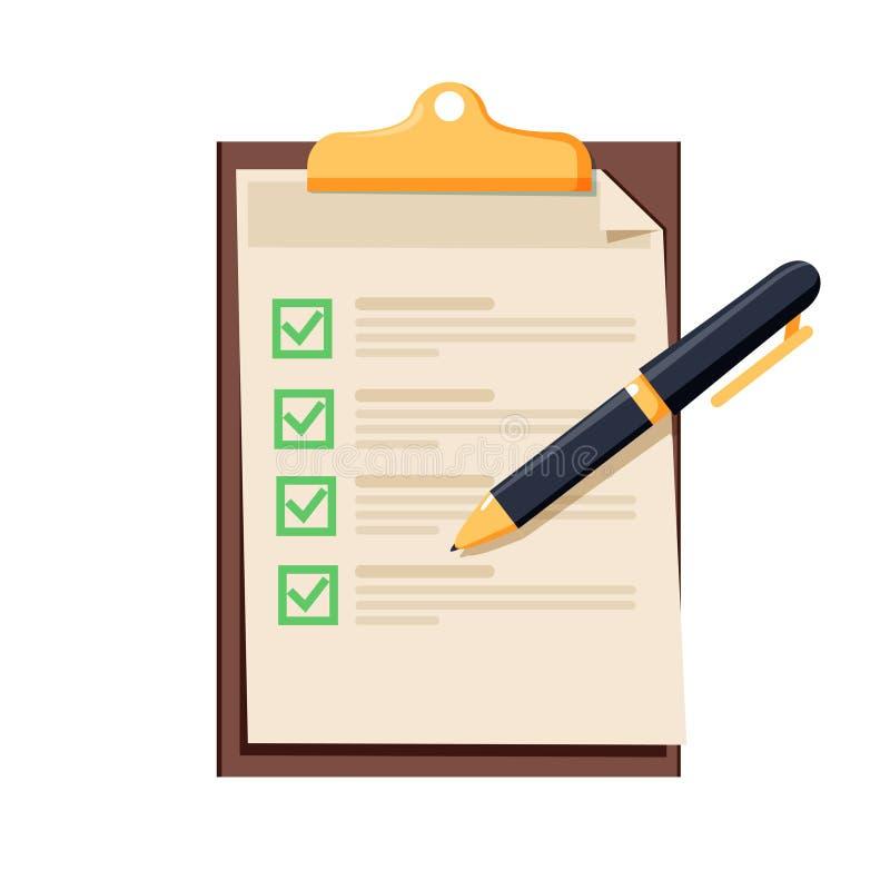 Εικονίδιο πινάκων ελέγχου Έγγραφο με πράσινα checkmarks κροτώνων στενή πέννα πινάκων ελέγχου επάνω Αίτηση υποψηφιότητας, πλήρεις  διανυσματική απεικόνιση