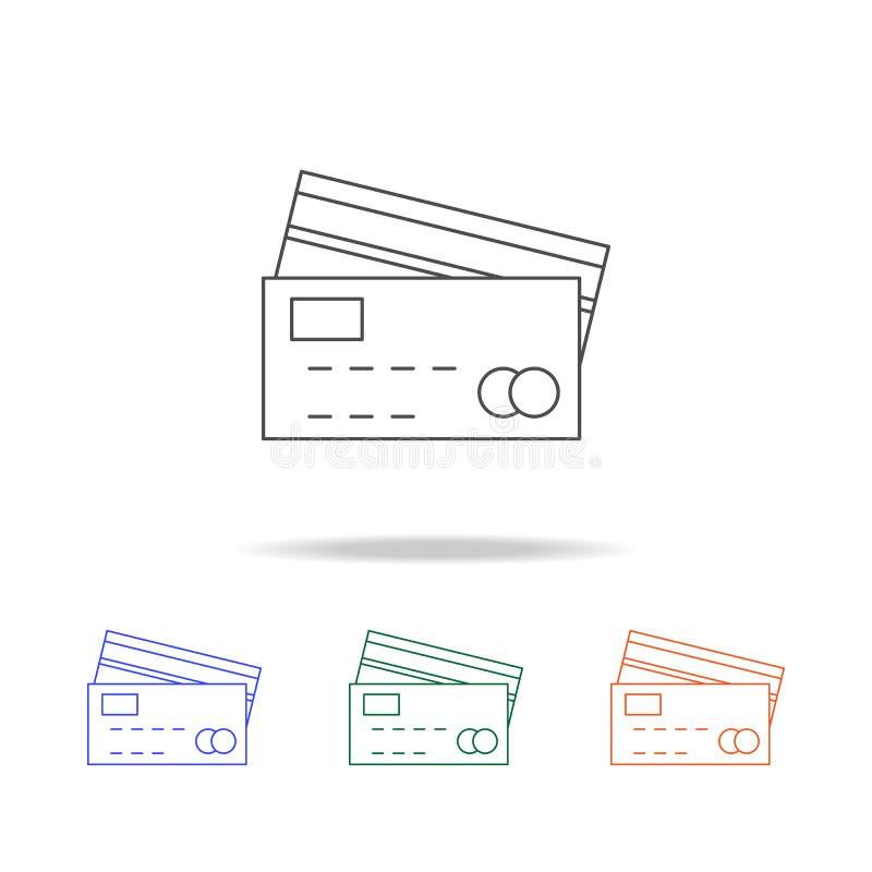 εικονίδιο πιστωτικών καρτών Στοιχεία των τραπεζικών εργασιών στα πολυ χρωματισμένα εικονίδια Γραφικό εικονίδιο σχεδίου εξαιρετική απεικόνιση αποθεμάτων