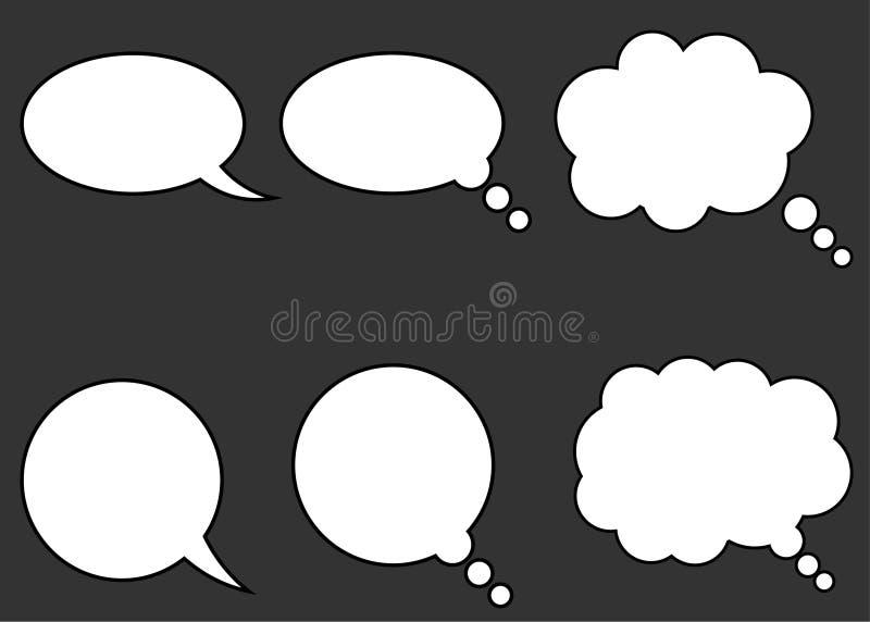 Εικονίδιο πλαισίων διαλόγου, φυσαλίδες κινούμενων σχεδίων συνομιλίας σκέψη σύννεφων απεικόνιση αποθεμάτων
