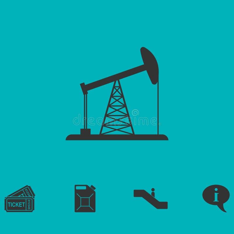 Εικονίδιο πλατφορμών άντλησης πετρελαίου επίπεδο ελεύθερη απεικόνιση δικαιώματος