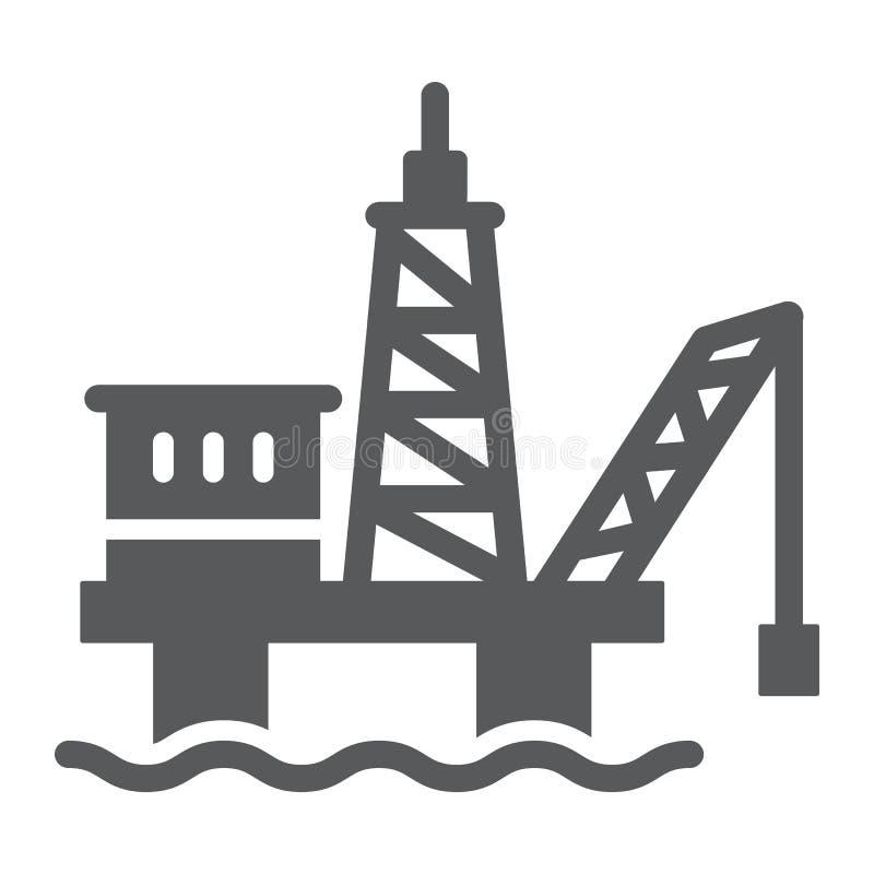 Εικονίδιο πλατφορμών πετρελαίου glyph, βιομηχανικός και φορτωτήρας, σημάδι πλατφορμών άντλησης πετρελαίου, διανυσματική γραφική π διανυσματική απεικόνιση