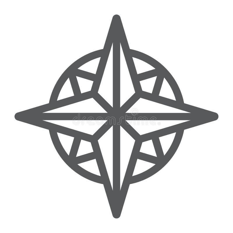 Εικονίδιο, πλοηγός και γεωγραφία γραμμών πυξίδων απεικόνιση αποθεμάτων