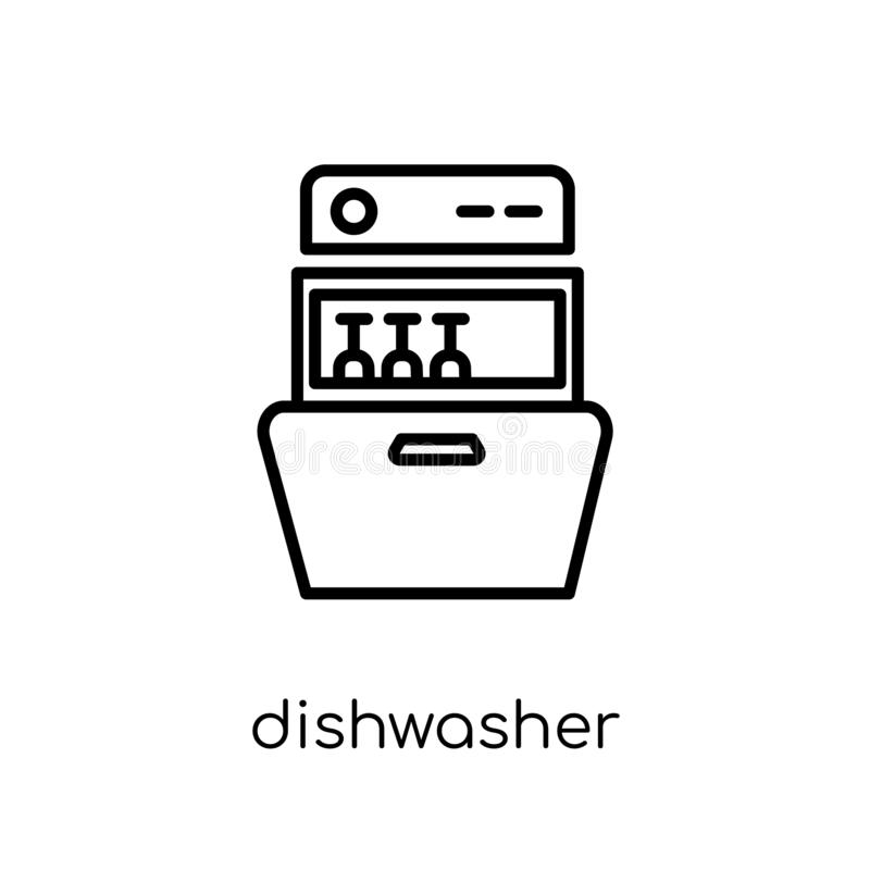 Εικονίδιο πλυντηρίων πιάτων από τη συλλογή επίπλων και οικογένειας ελεύθερη απεικόνιση δικαιώματος