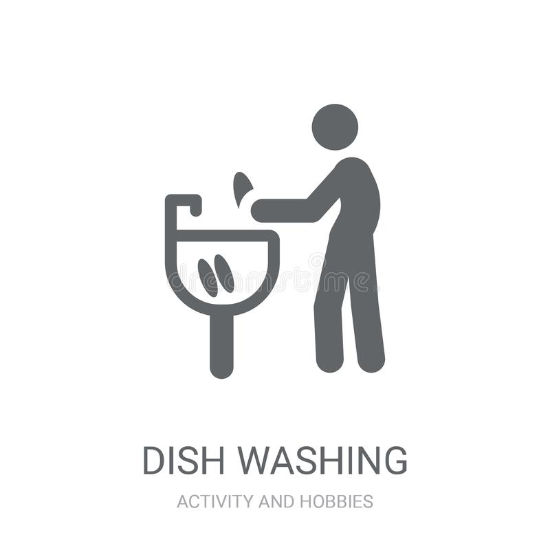 Εικονίδιο πλύσης πιάτων Καθιερώνουσα τη μόδα έννοια λογότυπων πλύσης πιάτων στη λευκιά ΤΣΕ απεικόνιση αποθεμάτων