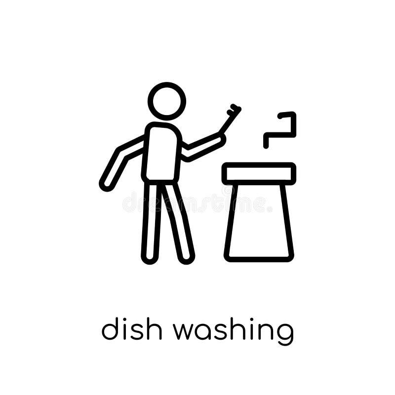 Εικονίδιο πλύσης πιάτων Καθιερώνουσα τη μόδα σύγχρονη επίπεδη γραμμική διανυσματική πλύση πιάτων απεικόνιση αποθεμάτων