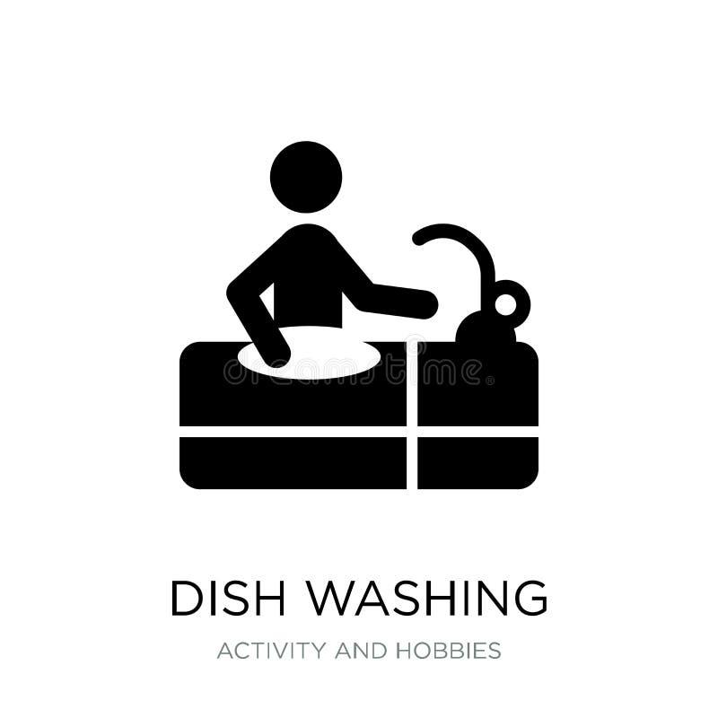 εικονίδιο πλύσης πιάτων στο καθιερώνον τη μόδα ύφος σχεδίου εικονίδιο πλύσης πιάτων που απομονώνεται στο άσπρο υπόβαθρο διανυσματ διανυσματική απεικόνιση