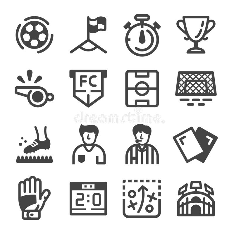 Εικονίδιο ποδοσφαίρου και ποδοσφαίρου διανυσματική απεικόνιση