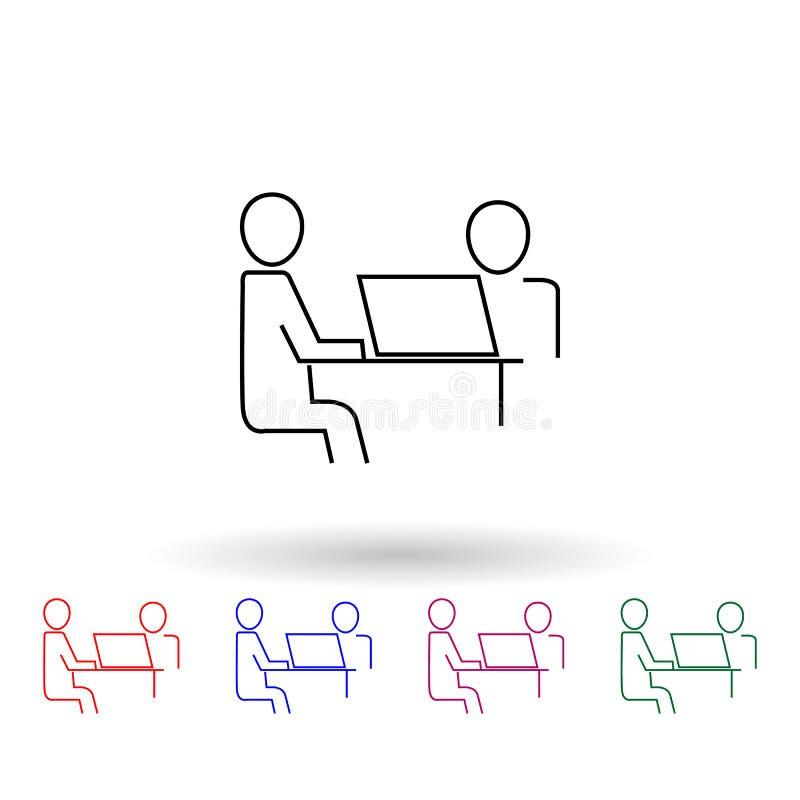 Εικονίδιο πολλαπλών χρωμάτων του Business for the common desktop work computer απλό γλύφο, επίπεδο διάνυσμα εικονιδίων κέρδους γι απεικόνιση αποθεμάτων