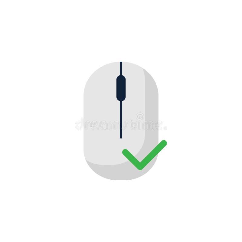 εικονίδιο ποντικιών υπολογιστών με το παχύ πράσινο σύμβολο σημαδιών ελέγχου Επίπεδο σχέδιο ύφους επίσης corel σύρετε το διάνυσμα  ελεύθερη απεικόνιση δικαιώματος