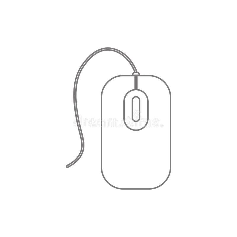 Εικονίδιο ποντικιών υπολογιστών Στοιχείο της ασφάλειας cyber του κινητού εικονιδίου έννοιας και Ιστού apps Λεπτό εικονίδιο γραμμώ διανυσματική απεικόνιση