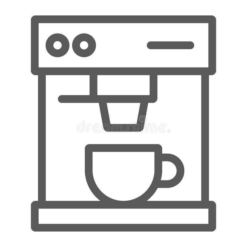 Εικονίδιο, ποτό και espresso γραμμών κατασκευαστών καφέ διανυσματική απεικόνιση