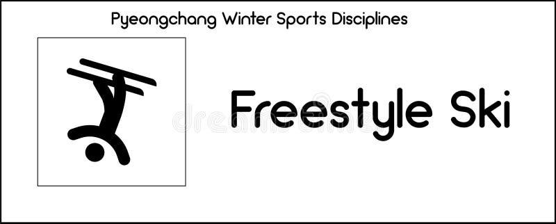 Εικονίδιο που απεικονίζει να κάνει σκι ελεύθερης κολύμβησης την πειθαρχία του παιχνιδιού χειμερινού αθλητισμού απεικόνιση αποθεμάτων