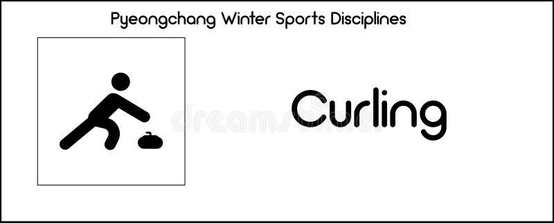 Εικονίδιο που απεικονίζει την πειθαρχία κατσαρώματος των παιχνιδιών χειμερινού αθλητισμού σε Pyeo ελεύθερη απεικόνιση δικαιώματος
