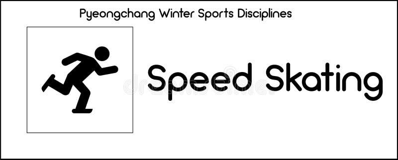 Εικονίδιο που απεικονίζει την πειθαρχία πατινάζ ταχύτητας των παιχνιδιών ι χειμερινού αθλητισμού απεικόνιση αποθεμάτων