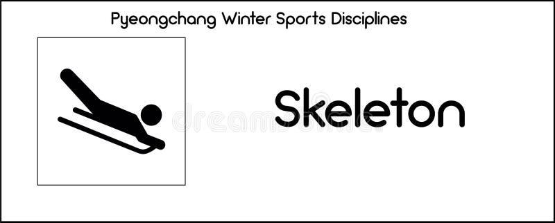 Εικονίδιο που απεικονίζει την πειθαρχία σκελετών των παιχνιδιών χειμερινού αθλητισμού σε Pye ελεύθερη απεικόνιση δικαιώματος