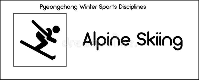 Εικονίδιο που απεικονίζει την πειθαρχία των παιχνιδιών χειμερινού αθλητισμού σε Pyeongchang διανυσματική απεικόνιση