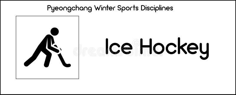 Εικονίδιο που απεικονίζει την πειθαρχία χόκεϋ πάγου των παιχνιδιών χειμερινού αθλητισμού στο Π απεικόνιση αποθεμάτων