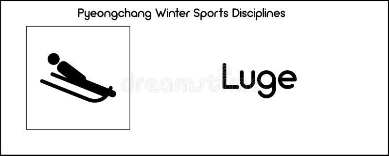 Εικονίδιο που απεικονίζει την πειθαρχία Luge των παιχνιδιών χειμερινού αθλητισμού σε Pyeongc ελεύθερη απεικόνιση δικαιώματος